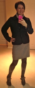 Boden knitted roll neck dress, Bloomsbury boots, quilted jacket