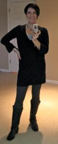 Clifton tunic, grey leggings, Frye Harness boots