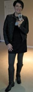 Clifton tunic, grey leggings, Frye Harness boots, JohnnieB jacket