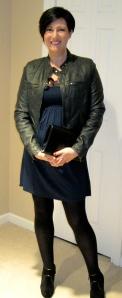 Silk flower tunic, Johnnie B jacket and YSL clutch