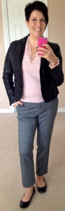 Boden straightleg wool crops, Per Una sweater, Boden leather jacket, Tory Burch Eddies