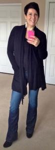 AllSaints cardigan, Hudson jeans, Boden boots