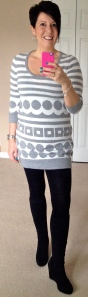 Funky knitted tunic, wedge boots