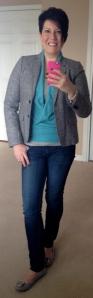 Boden aqua wrap jumper, JCrew jacket