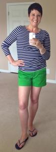 JCrew shorts, Boden Breton top, Havaianas