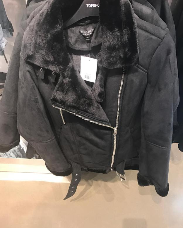 TopShop faux suede shearling jacket