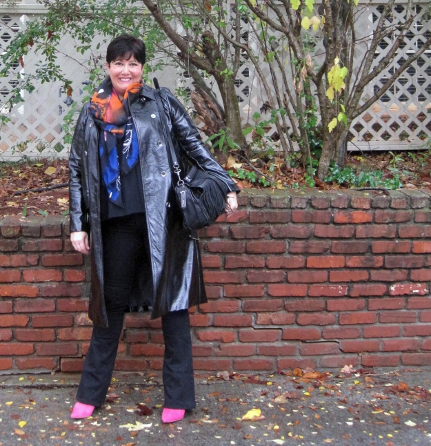 Marks and Spencer Briggate trench and pink Sam Edelman boots