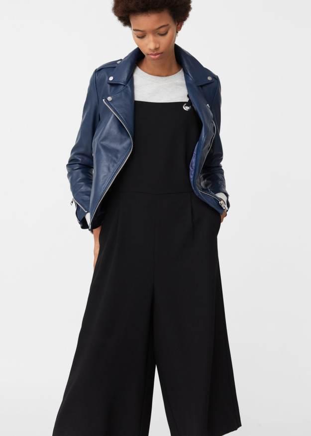 Mango blue leather jacket