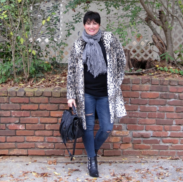 Marks and Spencer leopard print coat and toga pulla boots