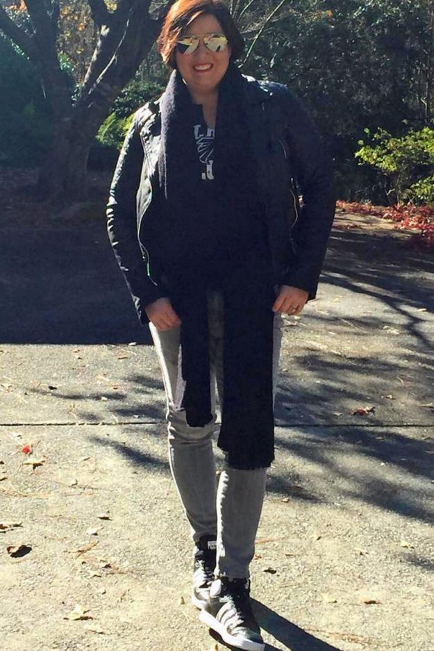 AllSaints leather jacket Zara jeans Adidas Top Ten Flacons