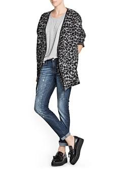 Leopard print wool belnd coat