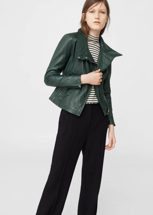 Mango green leather jacket