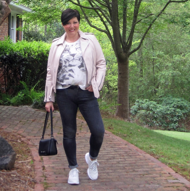 AllSaints leather jacket and Nike Jewell sneakers