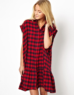 Extreme swing dress in check