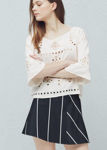 openwork trim blouse