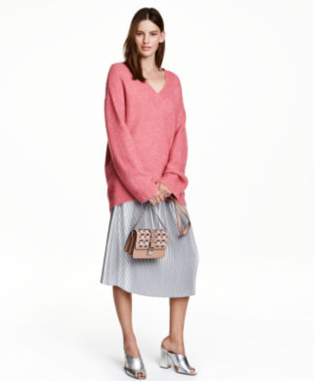 H&M silver pleated skirt
