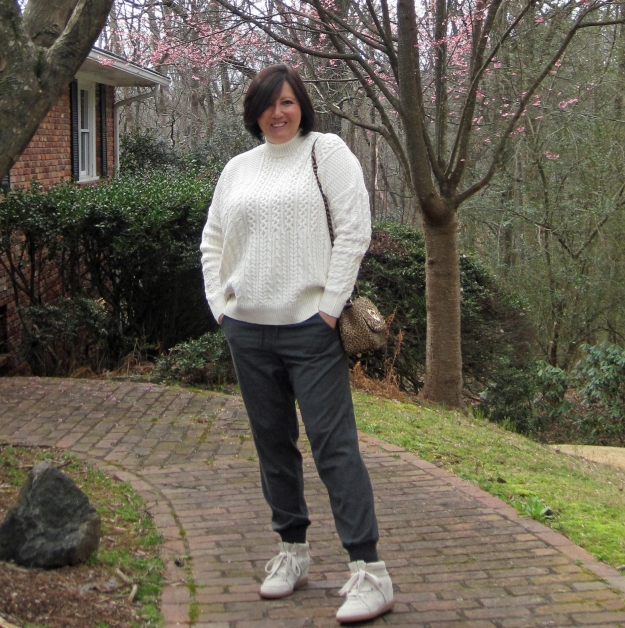 Isabel Marant Bobby sneakers, Hill & Friends bag, J.Crew joggers