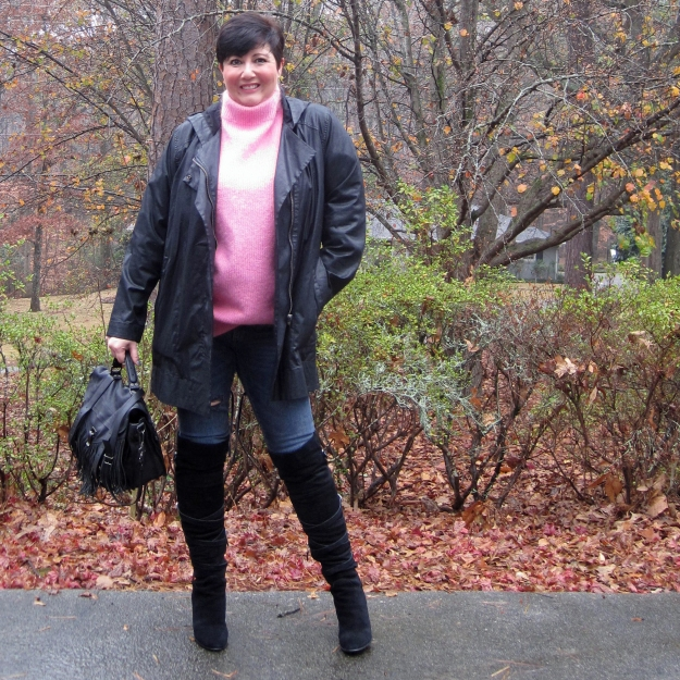 Pink H&M sweater and Sam Edelman boots