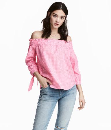H&M pink gingham off the shoulder top