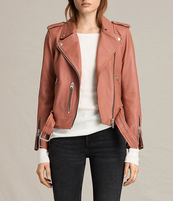 AllSaints Balfern leather jacket coral
