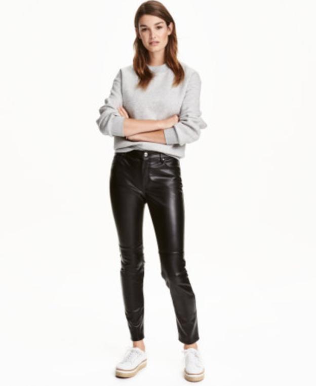 H&M imitation black leather pants