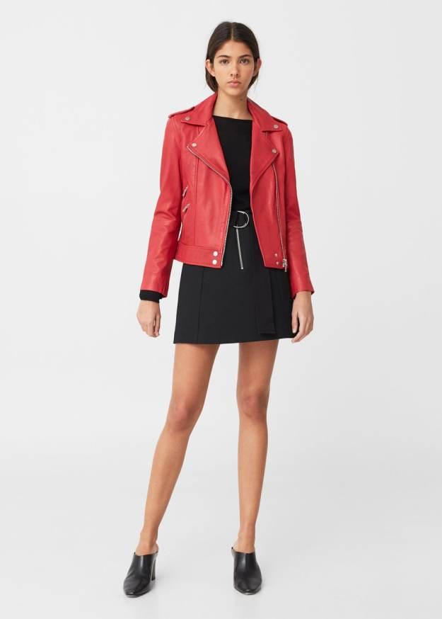 Mango red leather jacket