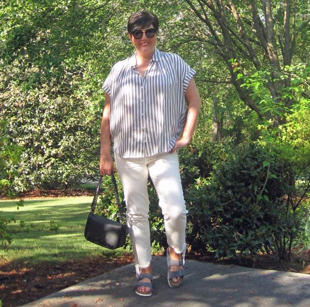 Madewell shirt and birkenstocks